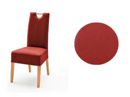 MCA Direkt Stuhl Elida dunkelrot Lederlook 2er Set Polsterstuhl für Wohnzimmer und Esszimmer Ausführung 4 Fuß Massivholzgestell und Griff wählbar