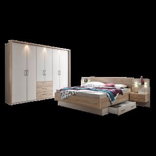 Schlafkontor Tender Schlafzimmerset 2- teilig bestehend aus einem Kleiderschrank 6-türig und einer Bettanlage inkl. 2 Nachtkommoden, Glasablagen mit LED Point-Beleuchtung und 2 Bettschubkästen Liegefläche ca. 180 x 200 cm