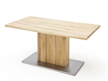 MCA Greta Esstisch in Balkeneiche massiv geölt mit feste Tischplatte mit Baumkante mit Säulenfuß in verschiedenen Größen wählbar