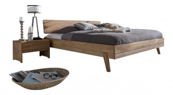 WOODLIVE Bett LIVIA massiv in Kernbuche natur geölt, Nachttisch optional wählbar, verschiedene Liegeflächen wählbar für Ihr Schlafzimmer oder Gästezimmer