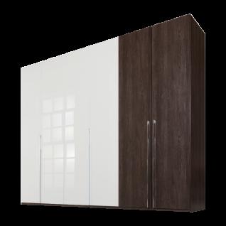 Nolte concept me 100 Kleiderschrank 6-türig Kombination aus Falttüren- und Drehtüren - Front Mix aus Dekor und Glasauflage Weiß - Korpus in Eiche-Nachbildung dark chocolate