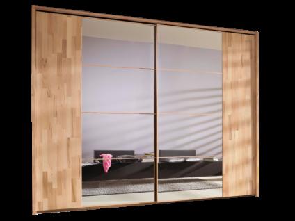 Rauch Steffen Linea Concept 20up Schwebetürenschrank Front 1B Teilmassiv Korpus Dekor-Druck Kernbuche Front aus geteilter Türfront Spiegel und äußerer Teil aus Massivholz Griffleisten in Korpusfarbe mit Seitenblenden aus Massivholz Schrankbreite ca. 300 c