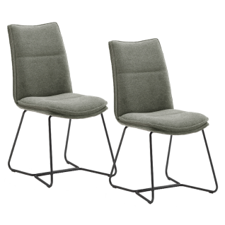 MCA furniture Polsterstuhl Hampton Bezug in Chenille Optik Bezugsfarbe wählbar Gestell Doppelkufe schwarz