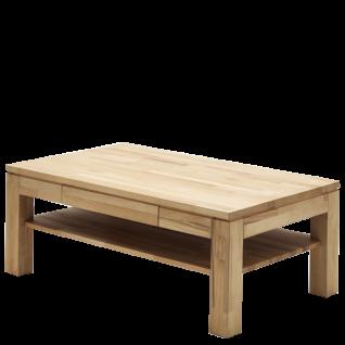 MCA Furniture Couchtisch Julian aus Asteiche Massivholz keilverzinkt mit einem Schubkasten und Ablageplatte