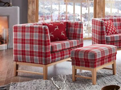 Schröno Sessel BRIXEN gemütlicher Sessel mit Hocker aus der Kitzalm Kollektion im rot-weiß-karierten Stoffbezug 65-18-48 inklusive einem roten Kissen 40 x 40 mit weißen Rentierdruck 65-18-88 mit Buche Holzfüße natur