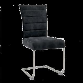 Niehoff Schwingstuhl 1821 Multi Top Tischsystem Bezug grau Gestell aus Edelstahl gebürstet Freischwinger für Wohnzimmer und Esszimmer