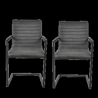 Sit Möbel SIT&CHAIRS Armlehnstuhl 2er-Set Bezug anthrazit Gestell Stahl antikschwarz