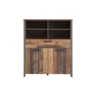 Forte Clif Highboard mit zwei Türen und einem Schubkästen Korpus Old Wood Vintage kombiniert mit Betonoptik dunkelgrau Front Old Wood Vintage für Ihr Wohnzimmer - Vorschau 2