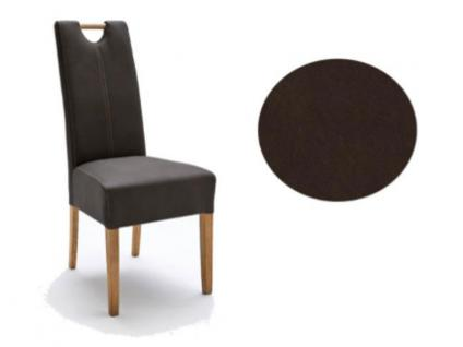 MCA Direkt Stuhl Elida braun Strukturoptik 2er Set Polsterstuhl für Wohnzimmer und Esszimmer Ausführung 4 Fuß Massivholzgestell und Griff wählbar