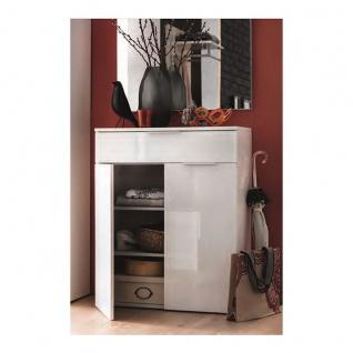 Wittenbreder Stelvio Garderobenkombination Nr. 07 komplette Garderobe für Ihren Flur und Eingangsbereich 7-teilige Vorschlagskombination im Dekor WEiß Hochglanz und Weiß Glas - Vorschau 3