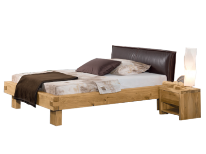 Neue Modular Bett Pino mit Kopfteil Bosco mit Kunstlederbezug used look braun und Füße Carpino Liegefläche ca. 180x200 cm optional mit Nachttisch