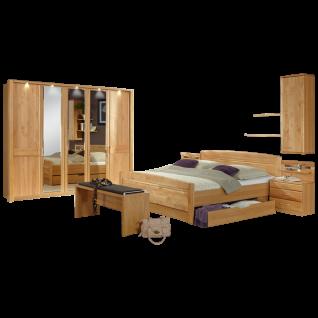 Wiemann Lausanne Schlafzimmer Doppelbett mit Bettkasten Drehtürenschrank Nachtschränke Ankleidebank Hängeschrank und Wandboards in Erle oder Birke