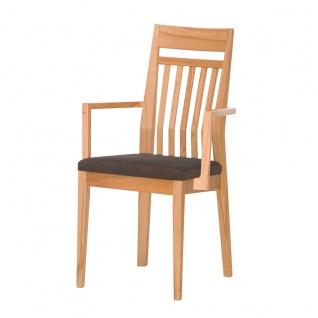 DKK Klose S34 Sessel 3391 mit Armlehnen mit Sprossenrückenlehne und gepolstertem Sitz Polsterstuhl für Esszimmer Gestell in Massivholz Ausführung Sitzkomfort und Bezug wählbar