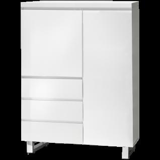 MCA furniture Kommode Sydney Art.Nr. 48906W1 Front und Korpus Weiß MDF Hochglanz lackiert Füße Metall verchromt 2 Türen und 3 Schubkästen