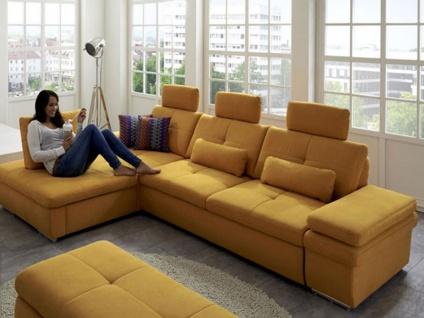 Megapol Ecksofa Location bestehend aus 3-Sitzer Sofa mit Schlaffunktion und Longchair mit Schubkasten, Bezug, Zubehör und Funktionen sind gegen Mehrpreis wählbar