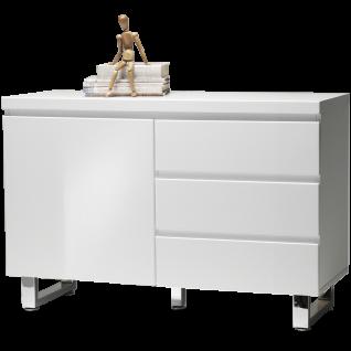 MCA furniture Sideboard Sydney Art.Nr. 48903W1 Front und Korpus Weiß MDF Hochglanz lackiert Füße Metall verchromt 1 Tür und 3 Schubkästen - Vorschau 1