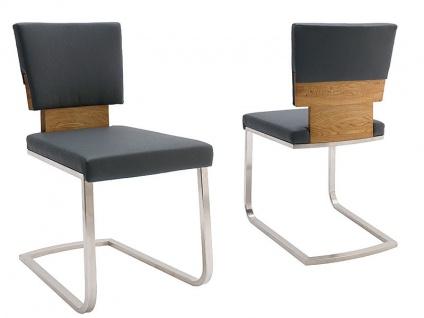 Wimmer Acerro Freischwinger Siro Rücken und Sitz fest gepolstert mit Massivholzteilen für Esszimmer und Küche