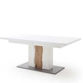 MCA Furniture ausziehbarer Esstisch Loreto LOX1BT60 mit in weiß mit Säule in weiß Hochglanz mit Absetzung in Balkeneiche Melamin Nachbildung aufgedoppelter Tischplatte und zwei inneliegenden Einlegeplatten