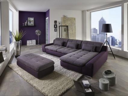 Megapol Eckkombination Spike bestehend aus 3-Sitzer und Canape mit Rückenverstellung inklusive 3 Nierenkissen und großem Hocker im Bezug Basic aubergine Energy purple PG 2 Metallfuß Rolle glänzend