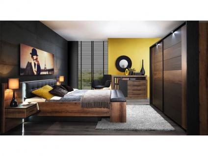 FORTE Bellevue Schlafzimmer 4-teiliges Set mit Bettanlage ca. 180x200cm inkl. zwei Nachtkommoden Sitzbank Schwebetürrenschrank und Passepartout-Rahmen Komplett-Schlafzimmer im Dekor Korpus Schlammeiche Nachbildung Front Schlammeiche Nachbildung kombiniert - Vorschau 5