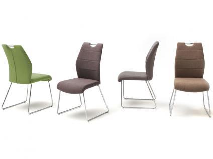 MCA furniture Kufenstuhl mit Griffloch SILVICA A 2er-Set Bezug Front Filzoptik Masada Rücken Polyurethan Gestell Rundrohr verchromt Bezugfarbe wählbar Stuhl für Ihr Esszimmer