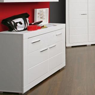 Forte Snow Kommode SNWK22 mit zwei Türen und einem Schubkasten Sideboard in Weiß matt mit Rillenfräsung für Jugenzimmer - Vorschau 2