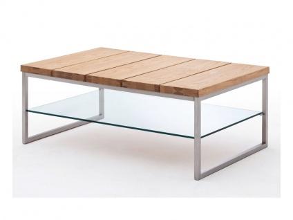 MCA Furniture Norge Couchtisch Art.Nr.: 58794A04 in Massivholz Asteiche furniert und geölt mit zusätzlicher Ablage Gestell Metall Edelstahl Optik für Ihr Wohnzimmer