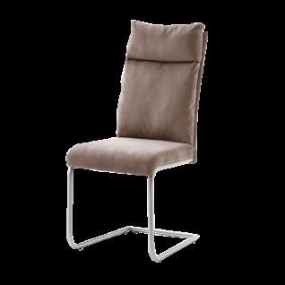 MCA furniture Freischwinger mit Griff im Rücken PIA 2er-Set Bezug Chenilleoptik oder Antik - Gestell Edelstahl gebürstet Bezugfarbe wählbar Stuhl für Ihr Esszimmer