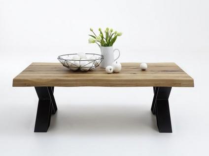 Bodahl Nature Couchtisch rustic oak mit X-Beinen und Baumkante Massivholz Tisch für Wohnzimmer in sieben Ausführungen wählbar