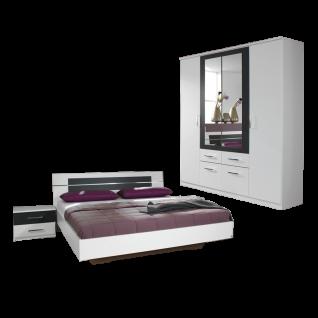 Rauch Packs Burano Schlafzimmer 2-teilig bestehend aus Bettanlage mit 2 Nachttischen und Drehtürenschrank 5-türig Liegefläche ca. 160 x 200 cm Farbausführung alpinweiß Absetzung grau-metallic