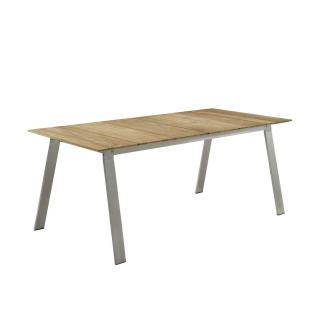 Niehoff Garden Naja II Gartentisch G583 mit Massivholztischplatte in Teak gebürstet und schweizer Facettenkante Tisch mit Vierfußgestell in Edelstahl gebürstet für Ihren Garten Größe wählbar