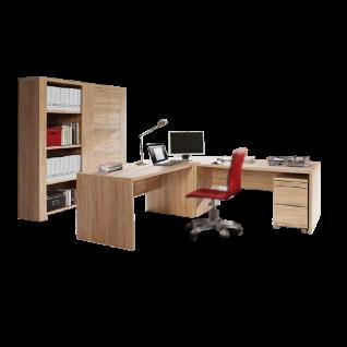 Forte Calpe Büromöbel-Set mit zwei Schreibtischen mit Eck-Verbindung einem Rollcontainer einem Regal und einem Regal mit Türen Dekor Sonoma Eiche