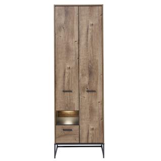 Wohn-Concept Manhattan Garderobenschrank 6008VV01 mit Schubkasten und Türen in Haveleiche Cognac Nachbildung und Metall Anthrazit mit Beleuchtung - Vorschau 1