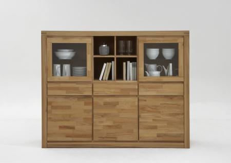 ELFO Vitrinenschrank DELFT mit 3 Schubkästen 2 Glastüren 3 Holztüren 4 offene Fächer Massivholz Beimöbel Art.Nr. 6211 für Wohnzimmer oder Speisezimmer in Kernbuche geölt