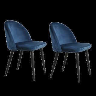 Sit Möbel SIT&CHAIRS Stuhl 2er-Set Bezug Samtstoff blau Gestell Stahl