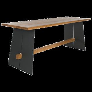 Bert Plantagie Bartisch Amar Tischplatte massiv mit Stahlwangen und Querbalken Esstisch mit fester Platte ohne Funktion für Esszimmer Tischgröße und Ausführung der Tischplatte und des Gestells wählbar