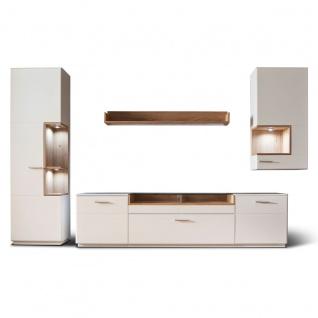 MCA furniture Wohnwand 2 Cesina Art.Nr. CES35W02 4-teilig Front weiß matt Korpus außen weiß matt lackiert Korpus innen weiß matt Nachbildung Absetzungen Asteiche furniert geölt Anbauwand für Ihr Wohnzimmer oder Gästezimmer