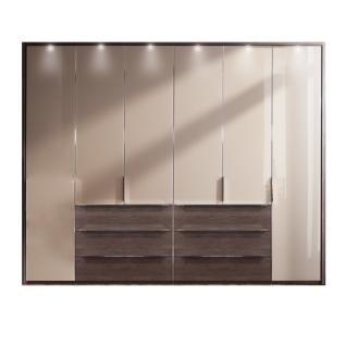 Nolte Möbel Horizont 110 Drehtürenschrank 6-türig mit 6 Schubkästen Korpus und Schubkastenfront in Dekor Türfront verglast optional mit Passepartout