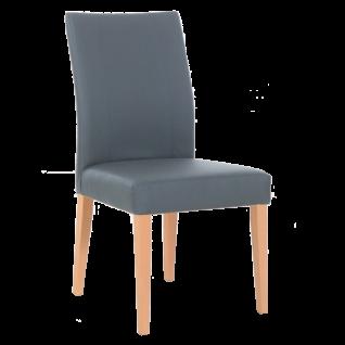 Standard Furniture Polsterstuhl Laura Bezug grau und 4-Fuß-Gestell Buche natur bequemer Stuhl für Esszimmer und Küche
