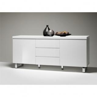 MCA furniture Sideboard Sydney Art.Nr. 48904W1 Front und Korpus Weiß MDF Hochglanz lackiert Füße Metall verchromt 2 Türen und 3 Schubkästen - Vorschau 2