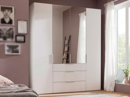 Nolte Express Möbel One 210 Drehtürenschrank 4-türig mit 3 Schubkästen Türen außen und Schubkästen in Korpusfarbe und die mittleren Türen mit Spiegelauflage, Griffausführung wählbar