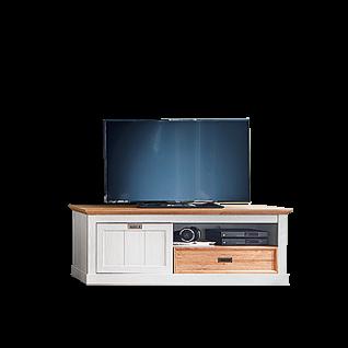 MCA Furniture Cleveland Lowboard T01 für Ihr Wohnzimmer TV-Unterteil im Landhausstil mit Schubkasten Fach und Klappe Medienelement im Dekor new white mit Absetzungen in Wildeiche Dekor