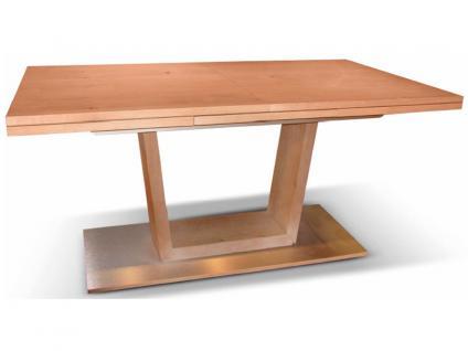 DKK Klose Esstisch Triple Mix Holzarten wählbar Tisch für Esszimmer mit vielen Auszugsfunktionen und V Untergestell mit Bodenplatte in Aluminium oder Edelstahl