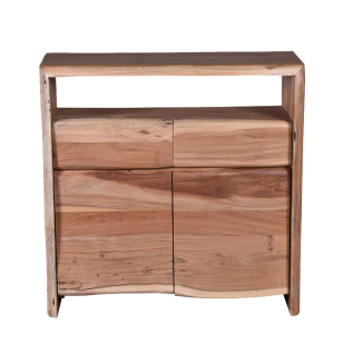 Sit Möbel ALBERA Kommode mit 2 Türen und Schubladen aus Akazienholz mit Baumkante