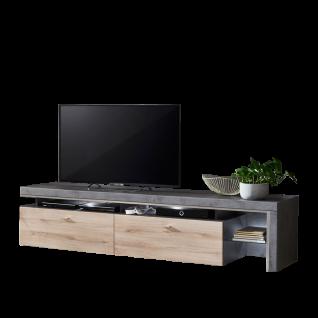 Ideal-Möbel Ribeira TV-Unterteil Type 32 mit zwei Schubkästen und einem offenen Fach für Ihr Wohnzimmer modernes Lowboard mit Korpus in Oxid Melamin Absetzung in MDF Profill ummantelt und Front in Kronberg Eiche hell Folie