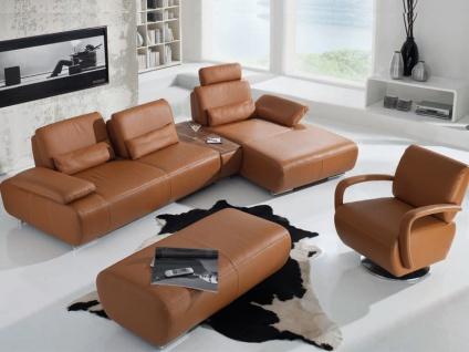 K+W 3-teilige Garnitur Miami 7487 mit Sofa, Sessel und Hocker im cognacfarbenem Echtleder