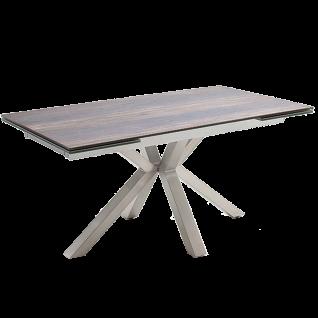 MCA furniture Esstisch Nagano mit Stirnauszug Edelstahlgestell Tischplatte Holzoptik barrique aus Keramik/ Sicherheitsglas