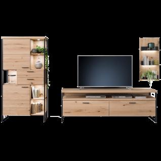 MCA furniture Wohnwand 4 Salerno Art.Nr. SAO14W04 Ausführung Balkeneiche Bianco Massivholz mit Lamellen / Eiche Bianco furniert Beleuchtung optional