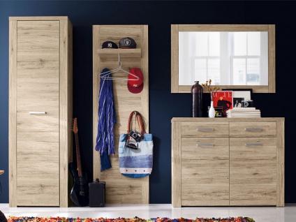 FORTE Portland Garderobe PRTD01 für Ihren Flur Garderobenset 4-teilig mit 1 Kleiderschrank 1 Schuhschrank 1 Kleiderpaneel und 1 Spiegel Front und Korpus Sandeiche Nachbildung - Vorschau 2