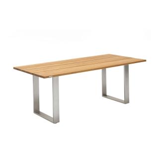 Niehoff Garden Noah Gartentisch T3G1 mit Massivholztischplatte in Teak und mit Profilkufen in Edelstahl gebürstet für Ihren Garten Größe und Holzton wählbar
